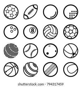 Sport ball simple icon set