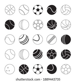 sport ball vector icon set. black and white