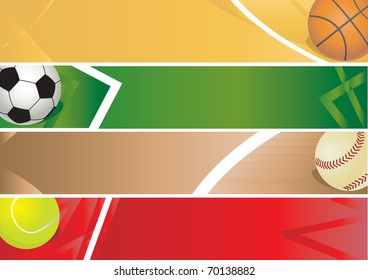 Sport balls banner. Vector illustration