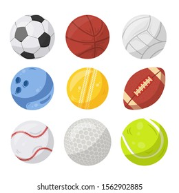 Sport balls flat vector illustrations set. Soccer, basketball and volleyball. Various competitive athletic games accessories. Bowling, cricket and american football. Baseball, golf and tennis symbols