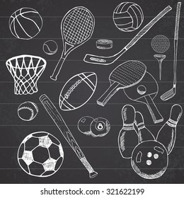 Sport balls Hand drawn sketch set with baseball, bowling, tennis football, golf balls and other sports items. Drawing doodles elements. collection, isolated on white background.