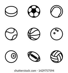 Sport balls icon. Black vector