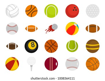 Sport balls icon set. Flat set of sport balls vector icons for web design isolated on white background