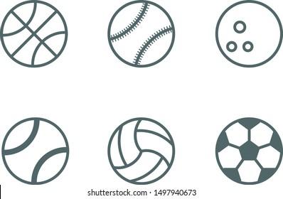 Sport balls icon set. Vector illustration