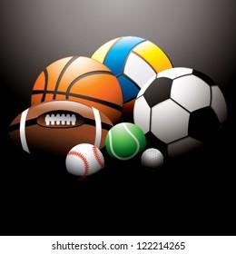sport balls on black background