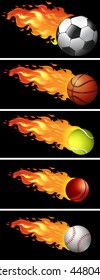 Sport balls on fire illustration