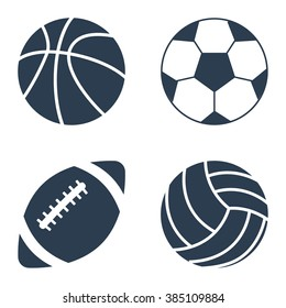 Sport balls set on black background. Collection silhouettessports balls. Vector illustration.