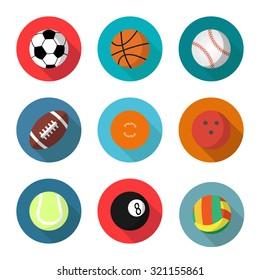 sport balls set, vector flat style