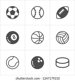Sport balls trendy flat icons. Vector illustration