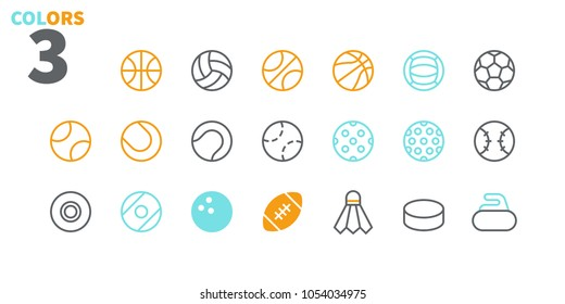 Sport Balls UI Pixel Perfect Well-crafted Vector Thin Line Icons 48x48 Ready for 24x24 Grid for Web Graphics and Apps. Simple Minimal Pictogram Part 1-1