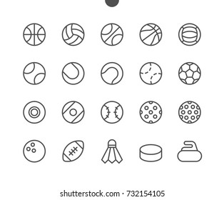 Sport Balls UI Pixel Perfect Well-crafted Vector Thin Line Icons 48x48 Ready for 24x24 Grid for Web Graphics and Apps with Editable Stroke. Simple Minimal Pictogram Part 1-1