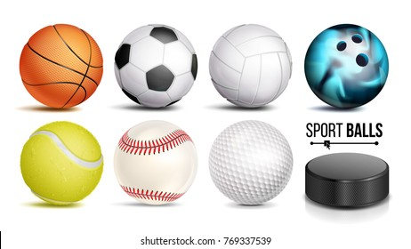 Sport Balls Vector. Set Of Soccer, Basketball, Bowling, Tennis, Golf, Volleyball, Baseball Sport Balls And Hockey Puck Icons Isolated Illustration