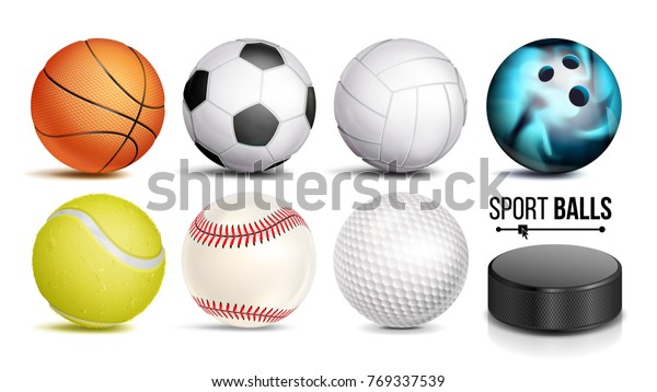 Sport Balls Vector. Set Of Soccer, Basketball, Bowling, Tennis, Golf, Volleyball, Baseball Sport Balls And Hockey Puck Icons Isolated Illustration