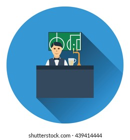 Sport bar stand with barman behind it and football translation on tv icon. Flat color design. Vector illustration.