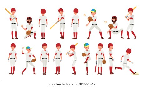 Sport Baseball Player Vector. Classic Uniform. Player Pitching On Field. Dynamic Action On The Stadium. Cartoon Character Illustration