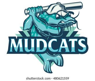 "Sport Baseball Team Emblem Mud Catfish Logo ""MudCats"""