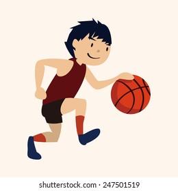 sport basketball athlete, flat icon
