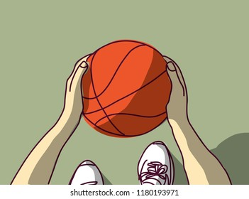 Sport Basketball hands feet and ball top view
