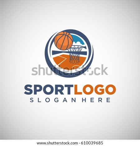 sport basketball logo template player silhouette stock vector
