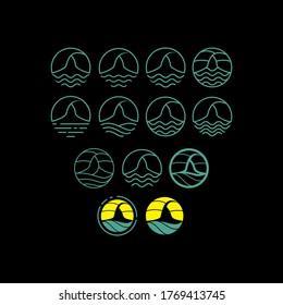 sport beach skydiving logo icon vector symbol