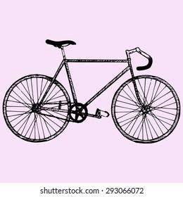 sport bicycle, race road bike, doodle style, sketch illustration
