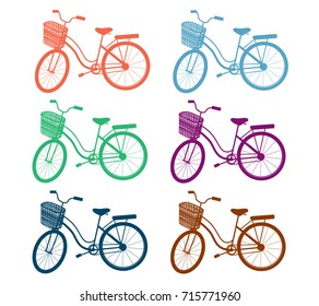 sport bike vintage isolate set vector illustration and silhouette