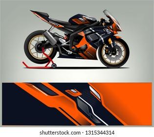 Sport bike wrap design vector. abstract background for vehicle decal vinyl branding