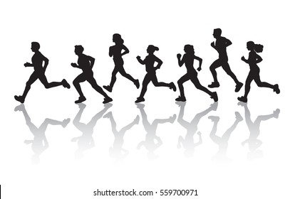 Sport black silhouette run group people isolate on white. Color vector illustration. EPS8