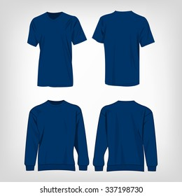 Sport blue t-shirt and sweater isolated set vector