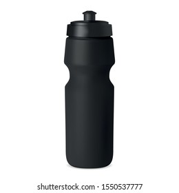 Sport bottle. Water flask vector mockup. Black plastic container with cap for branding. Reusable bicycle tin for fitness, training, workout. camping, hiking adventure equipment. Bike can illustration