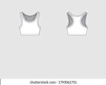 sport bra front and back, drawing pattern with vector illustration