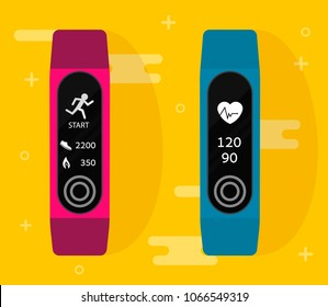 Sport bracelet. Fitness band run tracker vector illustration. Flat cartoon wristband with running activity steps counter and heartbeat pulse meter