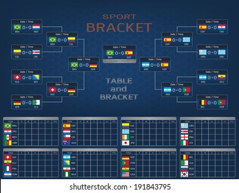 Sport Bracket and Score Table with National Flags