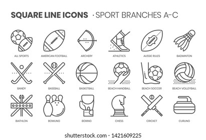 Sport branches related, square line vector icon set for applications and website development. The icon set is pixelperfect with 64x64 grid. Crafted with precision and eye for quality.