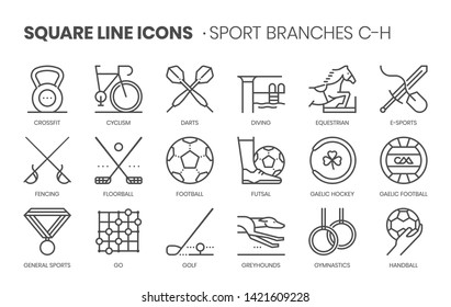 Sport branches related, square line vector icon set for applications and website development. The icon set is pixel perfect with 64x64 grid. Crafted with precision and eye for quality.