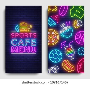 Sport Cafe Menu Vertical banners. Design Template, Sports Cafe Menu Neon sign, neon background, light banner, bright advertising, brochure menu food for Sport Pub. Vector Illustration