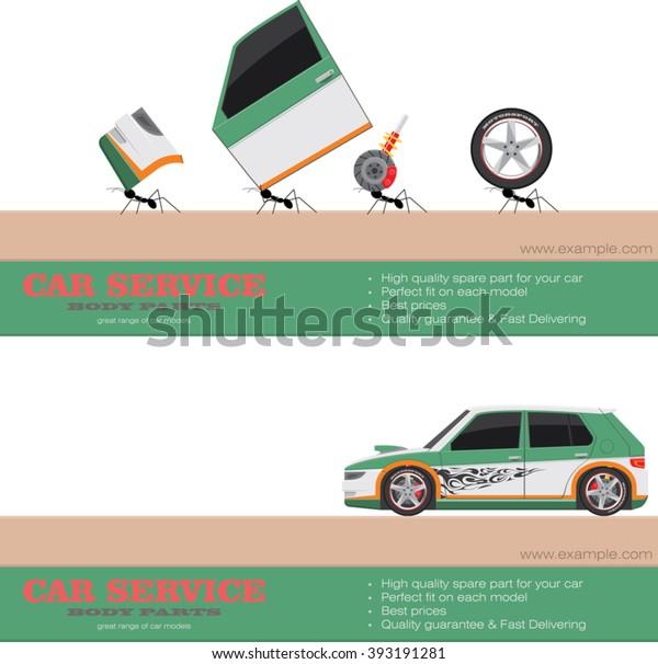 Sport Car Body Parts Components Delivering Stock Vector Royalty