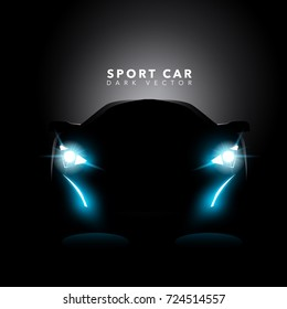 Sport Car In Dark Front View