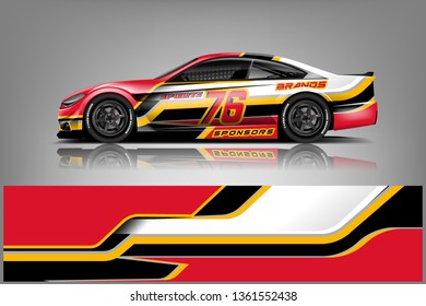 Sport Car decal wrap design vector. Graphic abstract stripe racing background kit designs for vehicle, race car, rally, adventure and livery. eps 10 ready  - Vector
