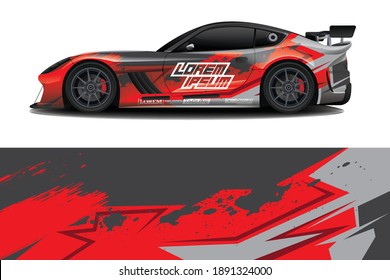 sport car decal wrap design vector
