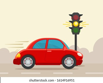 Sport car driving at yellow traffic light signal. Traffic violation and illegal over speed limit on road. Vector illustration, flat design cartoon style. Isolated background.