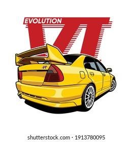 Sport car evolution yellow.Premium Vector