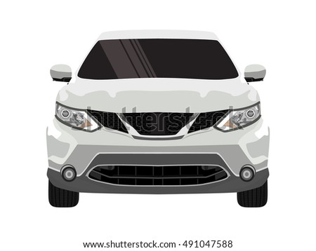 Sport Car Front View White Car Stock Vector Royalty Free 491047588