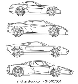 sport car line drawing