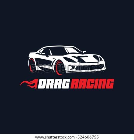 Sport Car Logo Illustration Drag Racing Stock Vector Royalty Free
