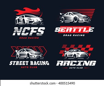 Sport car logo illustration on dark background. Drag racing.