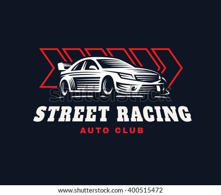 Sport Car Logo Illustration On Dark Stock Vector Royalty Free