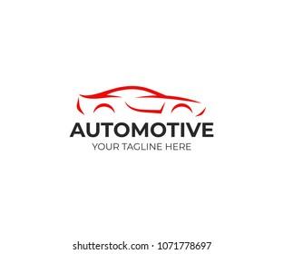 Sport car logo template. Automotive silhouette vector design. Abstract automobile logotype