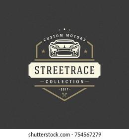 Sport car logo template vector design element vintage style for label or badge retro illustration. Classic car silhouette.