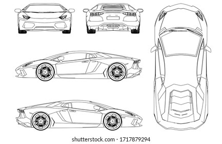 Sport car in outline. Sport vehicle template vector isolated on white. View front, back, side, top.